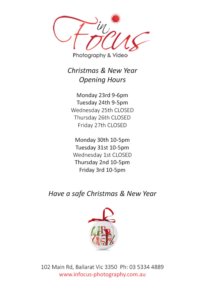 CHristmas Photography StUdio Opening Hours